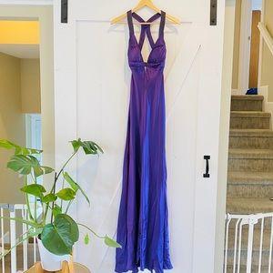 Aidan Mattox purple silk beaded gown